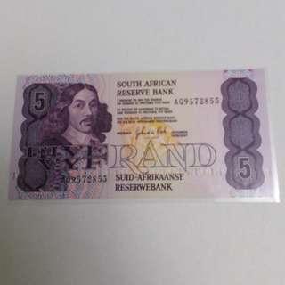 全新直版南非1980年5蘭特紙幣