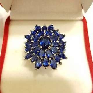 純銀925包18k金藍寶戒指