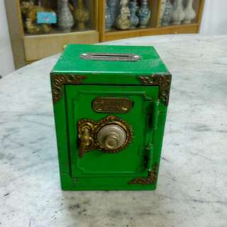 Metal Green Saving Box Vintage