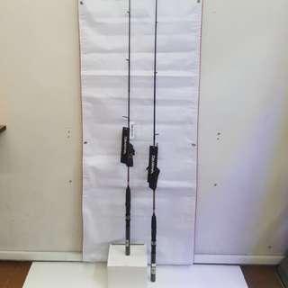 """The Daiwa Spinning Rod- MEGAFORCE (a).MF 602MHS (6'O"""" 2pcs Rod, Line: 8-17lb). (b). MF 562MHS (5'6"""" 2pcs Rod, Line: 8-17lb)."""
