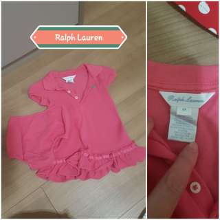 Preloved Authentic Ralph Lauren Dress for 0 to 3 months old. Selling for $20.