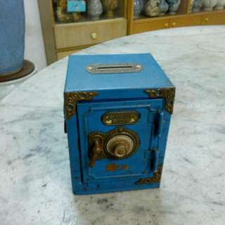 Metal Blue Saving Box Vintage