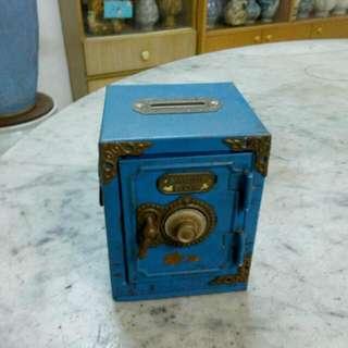 Metal Blue Saving Box Vintage