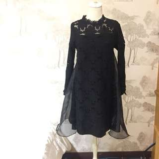 Babydoll Black Dress Hitam Kembang Laces | Gaun Pesta Casual #123moveon