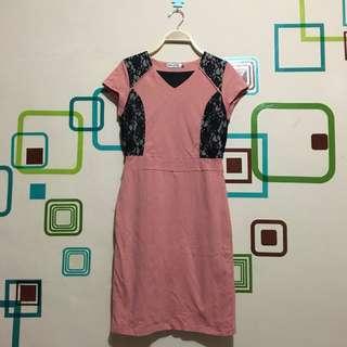 Dress Mint Brukat Pink Peach Size S - FIXED PRICE