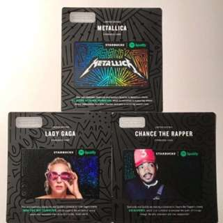 Set of 3 Limited Edition Starbucks Spotify Cards Lady Gaga / Metallica / Chance the Rapper