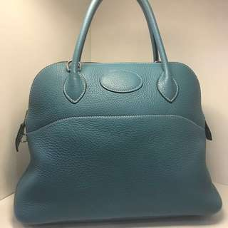 正品 90%新 Hermes Bolide 31 牛仔藍手挽側揹袋