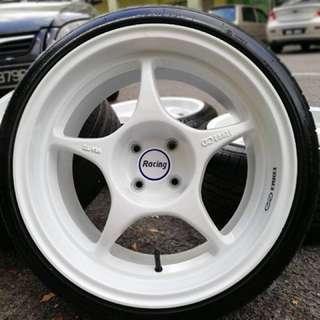 Enkei rpo1 17 inch 9jj sports rim vios tyre 70% , mangkok khau khau dalam bosku!!