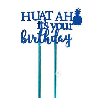 Customized Cake topper Blue Mirror Birthday Party