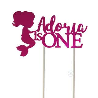 Customized Cake topper Pink Mirror One Birthday Party
