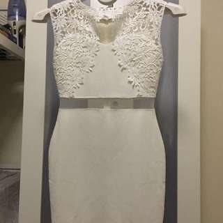White Crochet Dinner Dress