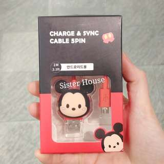 (包郵)🇰🇷Disney Mickey Mouse Charge & Sync 5Pin Cable 米奇老鼠充電線