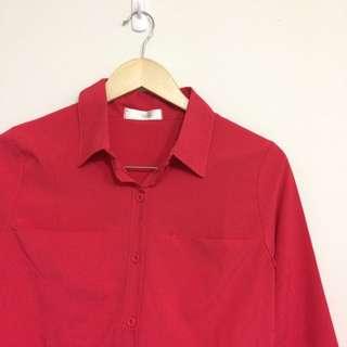 🚚 全新🌸絲質玫紅襯衫
