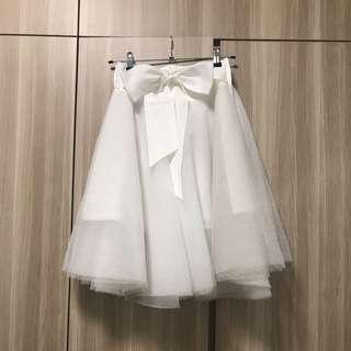 Preloved White Midi Tulle Mesh Skirt