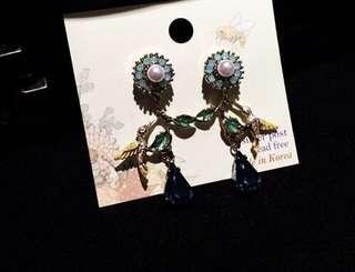 韓國進口 正品代購 925 純銀 飾品 大寶石 淑女 垂感小鳥 耳墜 耳釘 耳環  Korea Earrings Earring