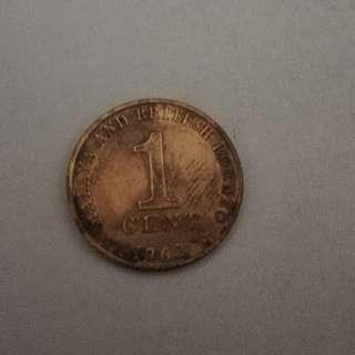1962 M&BB 1¢ coin