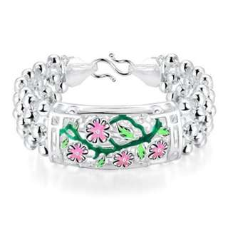 CLASSY WOMEN BRACELET SILVER PLATED CARVING H393-A (GREEN)