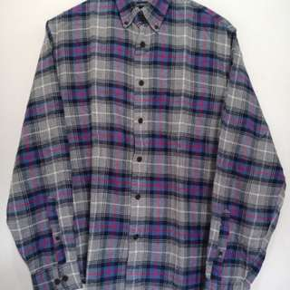 Kemeja flanel Lands'end M fit to XL