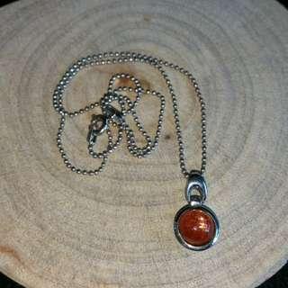 太陽石吊咀 + 925銀頸鏈