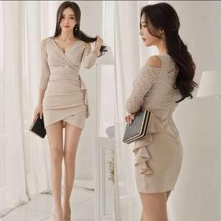 Office wear almond low cut bodycon  dress