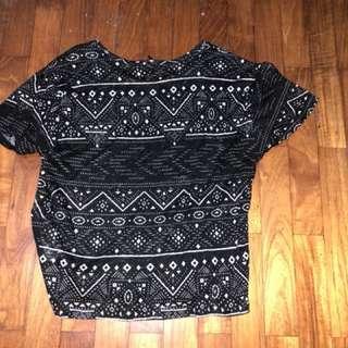 Tribal Print Black T Shirt