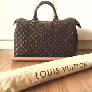 Authentic LV Louis Vuitton Monogram Fusain Idylle Speedy Bandoulliere