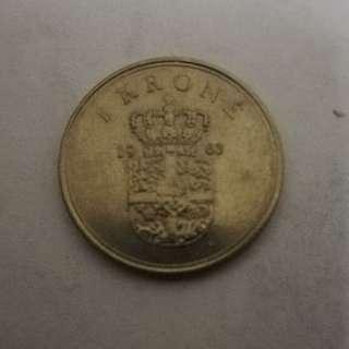Denmark 1963 1 Krone coin