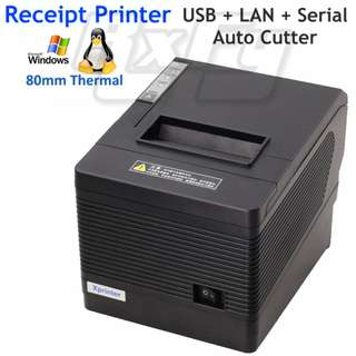 All in One 80mm Thermal Receipt Printer POS Kitchen Cutter (USB + LAN + Serial, RJ11 Cash Drawer Port)