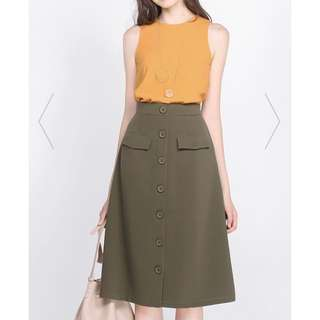 Fayth Neith Utilitarian Midi Skirt in Khaki and Green