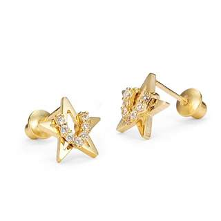 14k gold solid USA screwback earrings