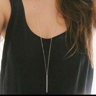 [$3.9] ✅Instocks - Bar Line Necklace (silver) Med Long #easter40
