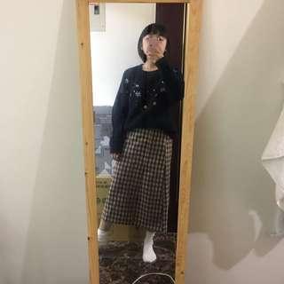 毛呢咖啡格子窄長裙♡