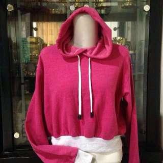 hoodie / sweater crop pink