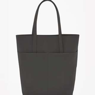 COS Coated Leather Tote — Black