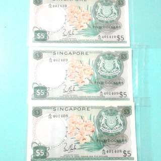 Orchid Series  $5 Singapore Note.