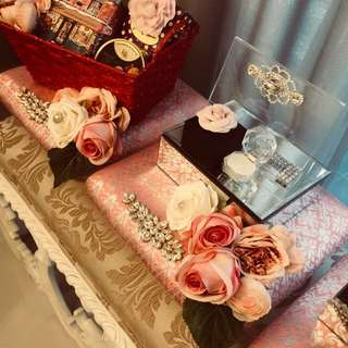 Pink songket with soft pink & peach flowers engagement set