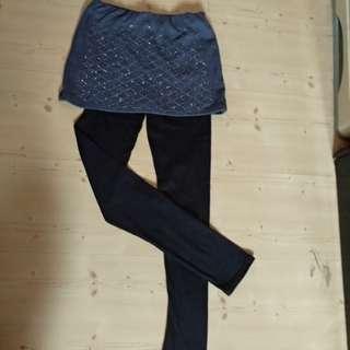 Korea design Grey skirt with black legging