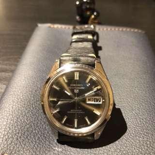 Seiko 精工錶 手寫五仔 罕有 灰色面 自動機芯 海豚標誌 撳推跳日期 超好玩 約37mm 呢隻係我最鍾意的一隻 凈錶頭不跟錶帶