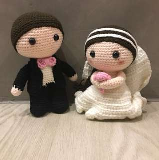 Knitted wedding couple