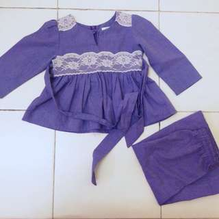 baju kurung set peplum lace long sleeves girl 12m-24m