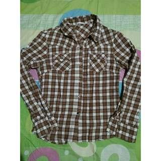 Brown plaid/flannel top