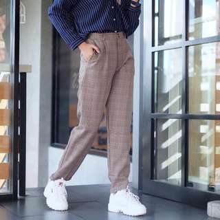 Tartan pants bershka brown
