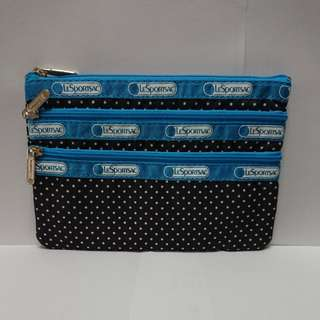 LeSportsac 3-Zip Cosmetic in Pin Dot Blue