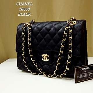 Chanel Double Flap Caviar Black
