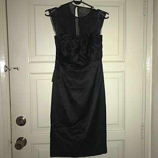 Authentic Karen Millen Black Classy Silk Rosette Bodycon Dress UK 6