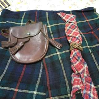 Old Scout Uniform with Kilt,  leather bag, scarf and leather woggle 1941