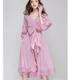 Ladies fashion pink dress bow striped