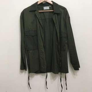 COP軍綠色日式綁帶上衣
