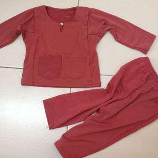 baju melayu baby merah bata red brick NB - 12m