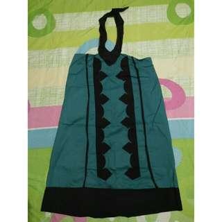 Blue green halter backless dress
